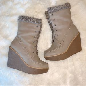 ♡3/$20♡ Leila Stone | Winter Boot Wedges